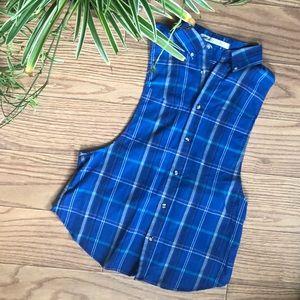 Tops - Blue plaid sleeveless button up